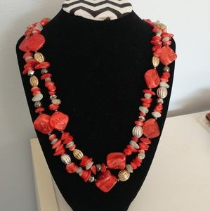 Red Shell Silver Gold Tone Long Necklace